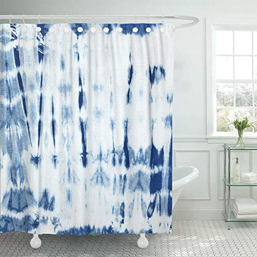 Emvency Fabric Shower Curtain with Hooks Abstract Batik Tie Dyed of Indigo Color on White Hand Dye Fabrics Shibori Dyeing Extra Long 72
