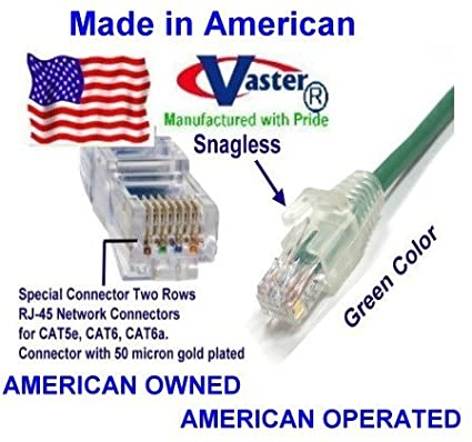 Ethernet Network Patch Cable GREEN SuperEcable Made in USA UL 24Awg Pure Copper USA-0673-45 Ft UTP Cat5e