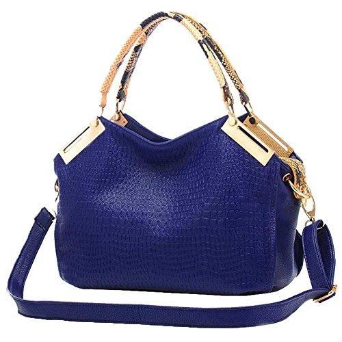 ORICSSON Girls Patent Leather Crocodile Pattern Tote Bag Shoulder Handbag (Blue Patent Leather Bag)