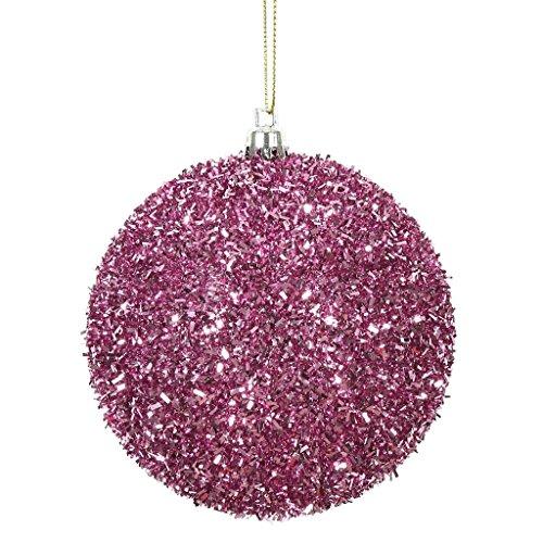 Vickerman 510896-4 Pink Tinsel Ball Christmas Christmas Tree Ornament (4 pack) (N178079) - Tinsel Ornament Christmas Ball