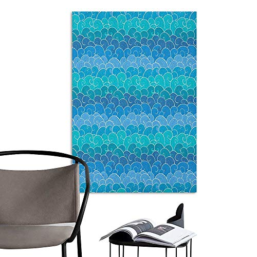 Self Adhesive Wallpaper for Home Bedroom Decor Nautical Abstract Waves Cartoon Sea Shipping Transport Ornament Nature Waterscape Blue Teal Turquoise 3D Bathroom Decal W20 x H28 ()