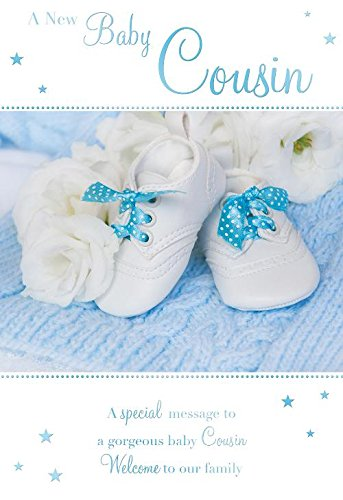A new baby cousin booties rose design male boy birth new baby a new baby cousin booties rose design male boy birth new baby greeting card m4hsunfo