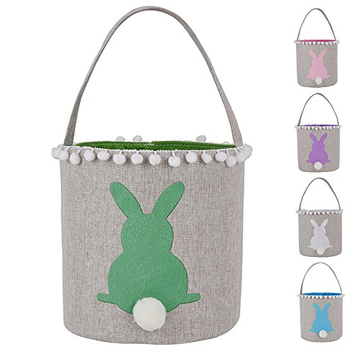 Easter Bunny Basket Bags Burlap Cotton Carrying Gift and Egg