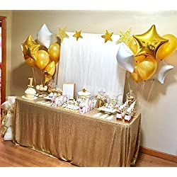 "B-COOL sequined tablecloth 50""x80"" Matte Gold sparkly sequin fabric Wedding Tablecloth Sequin Luxury Linens Circle Table Cover"