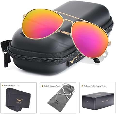 LUENX Aviator Sunglasses Mens Polarized with Case - UV 400 Protection 58mm