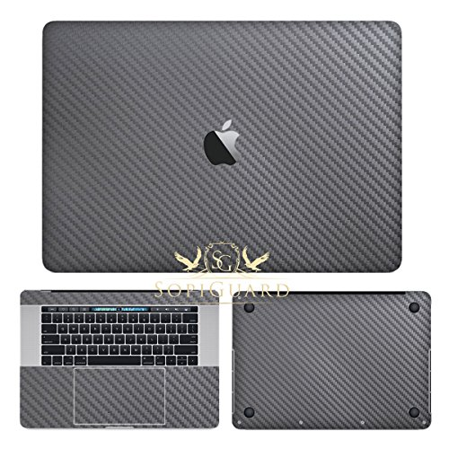SopiGuard Gunmetal Gray Carbon Fiber Full Body Precision Edge-to-Edge Coverage Vinyl Sticker Skin for Apple Macbook Pro 15 Touch Bar (A1707 A1990)