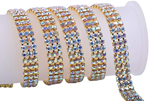(KAOYOO 3 Rows 1 Yard Crystal Rhinestone Close Chain Trim,SS16/4.0mm/0.16