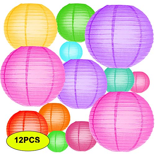 "TLBTEK 12Pcs Multicolor Round Colorful Paper Lanterns Decorative String Bulk for Birthday Bridal Wedding Baby Shower Festival Party Decoration (Size of 4"", 6"", 8"", 10"", 12"" inch) ()"