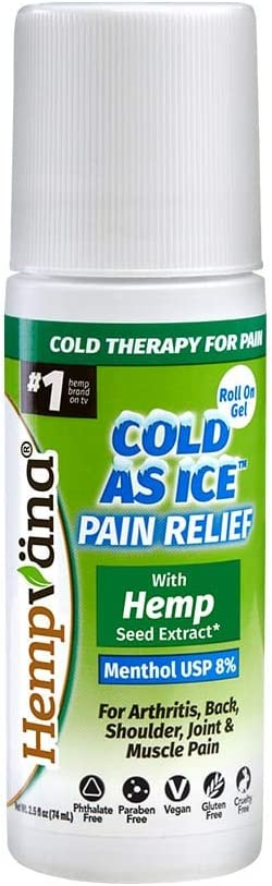 Hempvana Cold As Ice Cold Therapy for Pain, Convenient Pain Relief Roll On Gel with Menthol USP 8% & Enriched with Hemp Seed Extract