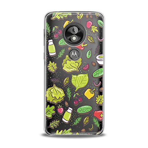 Lex Altern TPU Case for Motorola Moto G7 Power One P30 P40 Note G6 Z4 Veggie Bright Pattern Clear Cover Vegan Healthy Lifestyle Silicone Print Durable Green Design Girls Women -