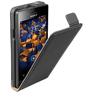 Mumbi Premium - Funda de piel auténtica con tapa para Sony Xperia miro, color negro