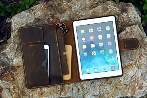 Vintage distressed leather iPad stand cover for New iPad Pro 9.7 10.5 11 12.9 Leather iPad organizer case for 2019 iPad Air 10.5 inch IXPMC