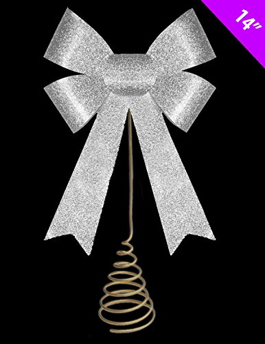 14 Inch Christmas Tree Top Decoration - SILVER Glitter Bow Tree Topper by Christmas Shop (Christmas Tree Topper Tree Shop)