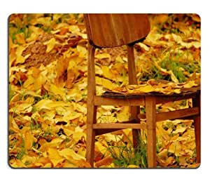 Autumn Yellow Leaves Chairs Fallen Mouse Pads Customized Made to Order Support Ready 9 7/8 Inch (250mm) X 7 7/8 Inch (200mm) X 1/16 Inch (2mm) High Quality Eco Friendly Cloth with Neoprene Rubber MSD Mouse Pad Desktop Mousepad Laptop Mousepads Comfortable Computer Mouse Mat Cute Gaming Mouse pad