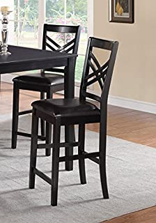 Set of 4 Espresso Finish Upholstered High Dining Chairs