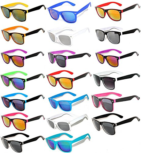 20 Pieces Per Case Wholesale Lot Glasses. Assorted Two Tone Colored Frame Smoke and Mirror Lens Fashion Sunglasses.Bulk Sunglasses - Wholesale Bulk Party Glasses, Party - Sunglasses Wholesale Bulk