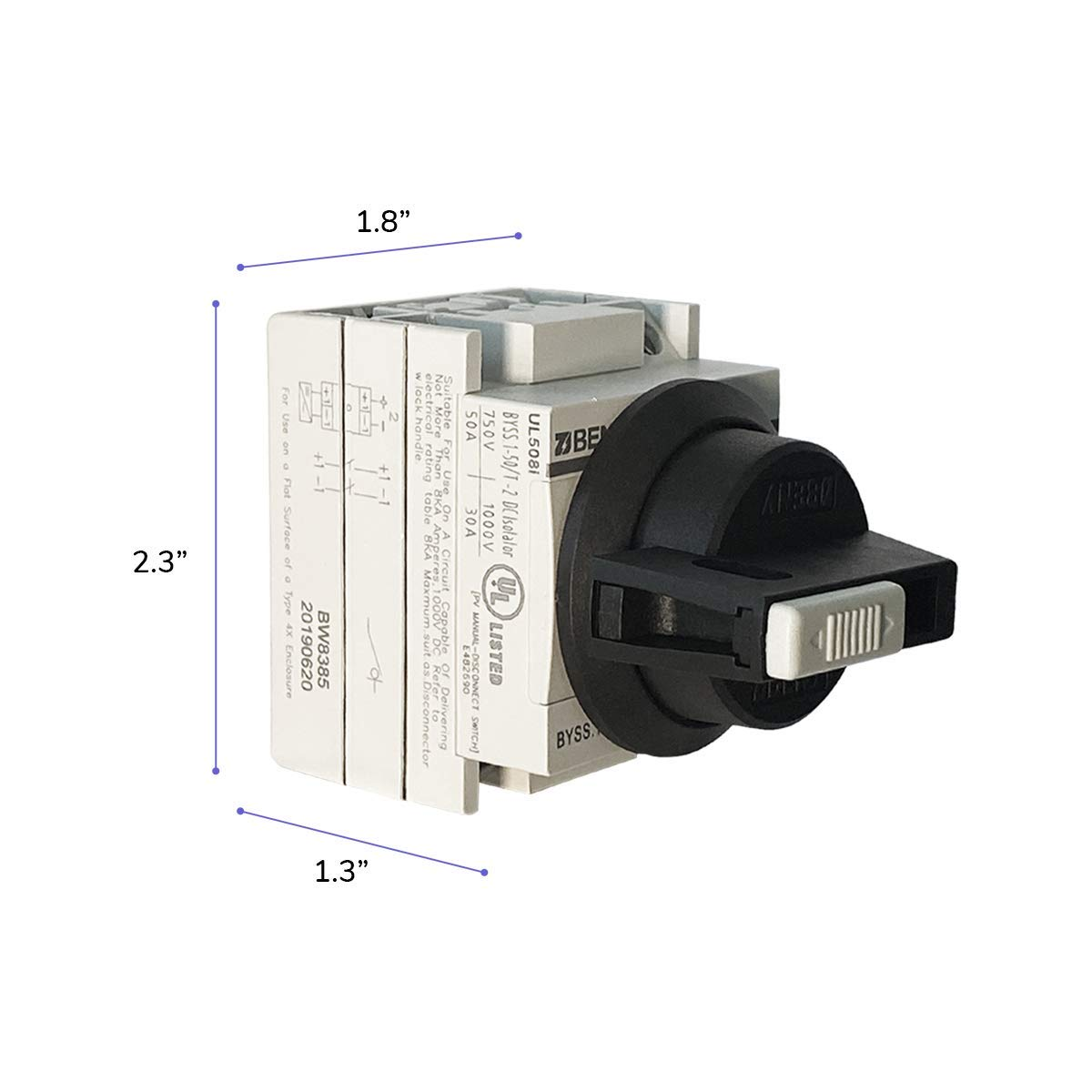 High Output Residential UL Listed,1500V PV DC Battery Disconnect Switch for RVs Jonsson 50 Amp DC Isolator Solar DC Isolator Switch Commercial Solar Compact