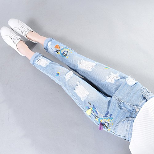 Pantalones Vaqueros Mujer Floral Agujero Delgado Mezclilla Jeans Azul