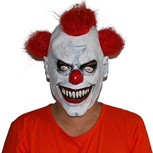 [GnG Toy joker Creepy scary halloween Clown Mask Red hair, Red Eye] (Evil Joker Costumes)