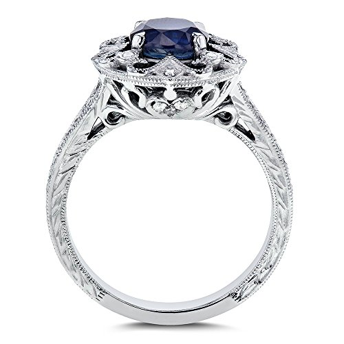 Antique Round Blue Sapphire and Diamond Vintage Style Engagement Ring 1 1 2  Carat (ctw) in 14k White Gold  7e5cb87be547