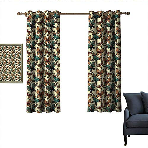 longbuyer Vintage Thermal Curtains Butterflies Figures with Rich Ornaments Artistic Design Fragility Freedom Beauty Wear Rod 63