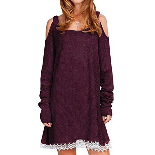 La Cabina Femme Sexy Mini Robe T-shirt Robe Sweat-shirt + Coton à Manches Longues pour Printemps été Automne