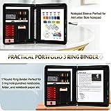 Zippered Padfolio with 3 Ring Binder (1'' Round Ring), Toplive Business Portfolio Folder Binder Document Organizer for Women and Men,Black