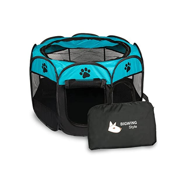 BIG-WING-Pet-Playpen-Portable-Foldable-Puppy-Playpen-for-Dog-Cat-Rabbit-Hamster-Guinea-Pig-Small-Animals-Crate-Cage-Outdoor-Indoor-Easy-Travel-Kennel-Tent