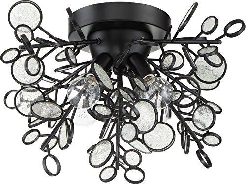Craftmade 48784-MBK Sigrid Glass Seeded Glass Flush Mount Ceiling Lighting, 4-Light, 240 Watts, Matte Black (18