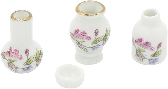 4pcs Retro Miniature Ceramic Vase Kitchen Toys 1//12 Dollhouse Decoration Gift Al