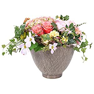 Little Green House Caramel Romance Bouquet with Indoor Flowers Vase, Multi Color