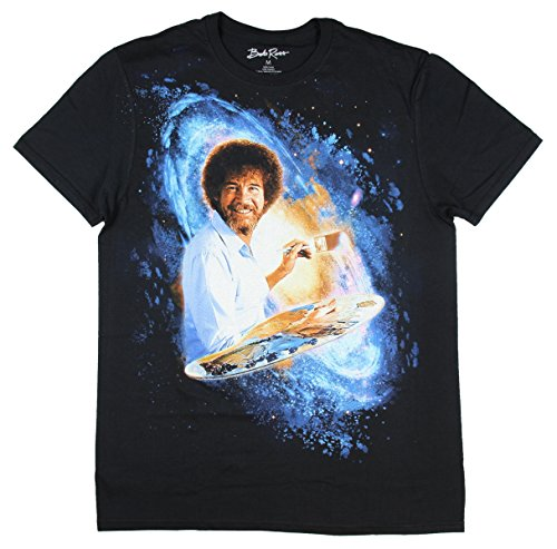 Bob Ross Galaxy Painting Graphic T-Shirt -  X-Large - Black