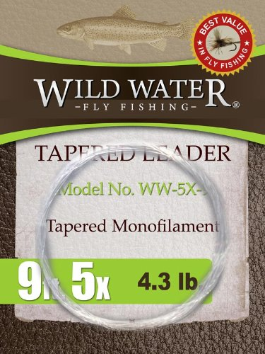 Wild Water Fly Fishing Tapered Leader-5X, 9′, 3 pack, Outdoor Stuffs