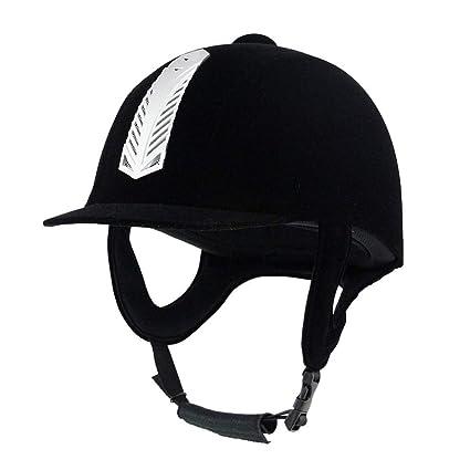 KANGLE Casco Ecuestre Casco De Montar A Caballo De Terciopelo Cómodo Casco De Equitación Ligero Negro
