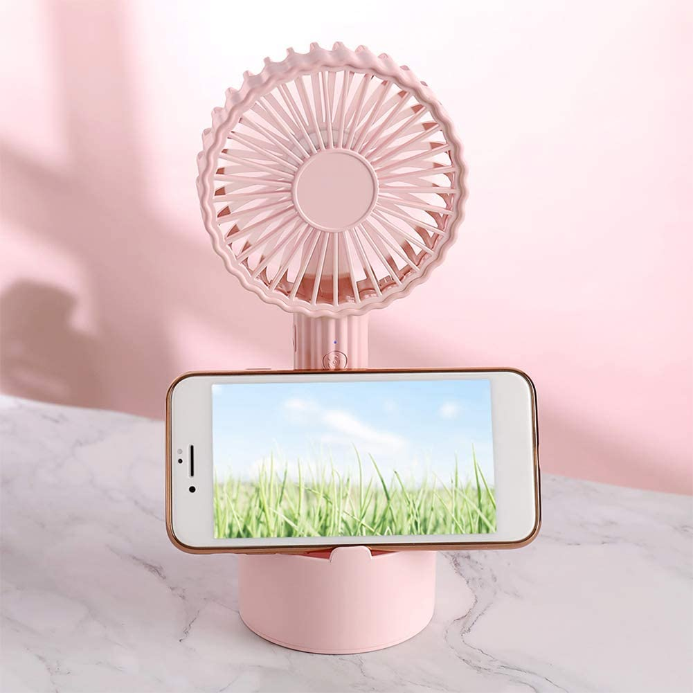 Colorido Mini Cactus Shape Portable Handheld Desk Fan USB Rechargeable Cooler with Holder White