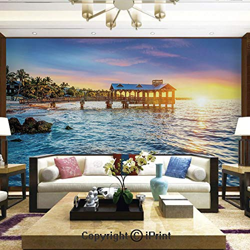 (Lionpapa_mural Wall Mural Showing All They Beauty Extremely Detailed Image, Pier at Beach in Key West Florida USA Tropical Summer Paradise,Home Decor - 100x144 inches)