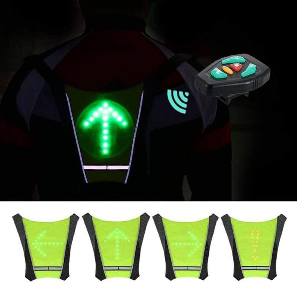 KODH High Visibility Warnweste for M/änner Radfahren Fahrrad-LED Wireless Safety Blinkerleuchte Weste Riding Night-F/ührer Sicherheitsweste Farbe : Amarillo
