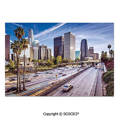 SCOCICI Set of 6 Printed Dinner Placemats Washable Fabric Placemats Downtown Cityscape of Los Angeles California USA Avenue Buildings Palms for Dining Room Kitchen Table Decoration -