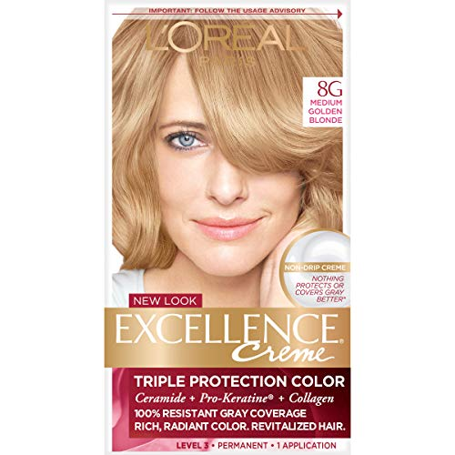 L'Oréal Paris Excellence Créme Permanent Hair Color, 8G Medium Golden Blonde, 1 kit 100% Gray Coverage Hair Dye