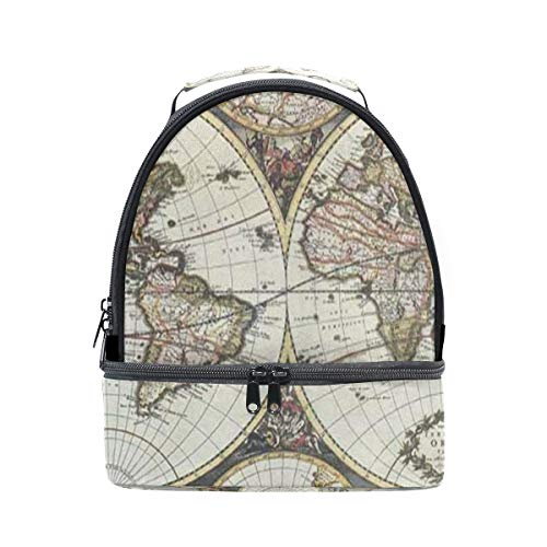 (Lunch Bag Old Map Of World Hemispheres Double Layer Backpack Lunch Tote Insulated Reusable Adjustable Shoulder Strap)