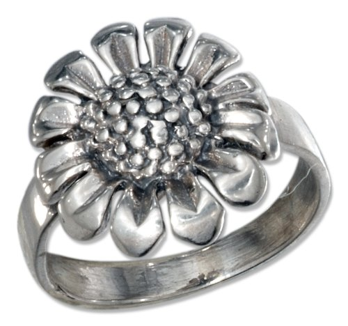 Sterling Silver Antiqued Sunflower Ring (size 08)