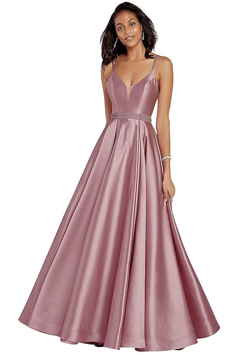 Dusty pink V Neck Sleeveless Satin Prom Dresses Long Evening Skirt Beaded Belt with Pockets