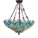 New Legend Tiffany Style Stained Glass Peacock Feather 3-Light Hanging Lamp Ceiling Fixture TL16020 - 22-Inch wide