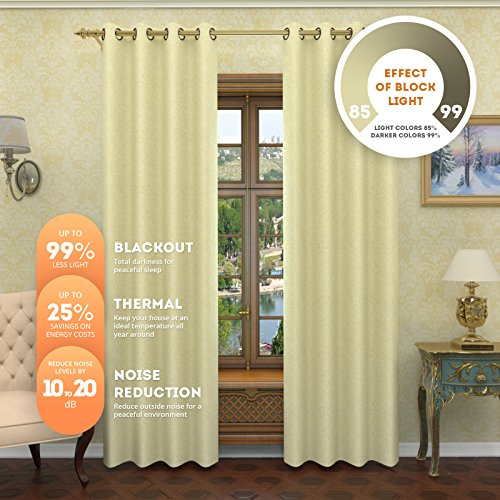 Lana - Premium Thermal Insulated Blackout Curtain - Luxury Solid Draperies - Advanced Insulation Technology - Blocks 99% of Sunlight - Perfect for Any Room (38