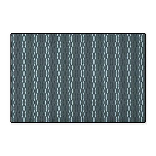 Blue,Door Mats for Inside,Ocean Under The Sea Wave Lines Zebra Inspired Stipes Image,3D Digital Printing Mat,Slate Blue Sky Blue and Almond Green,Size,20