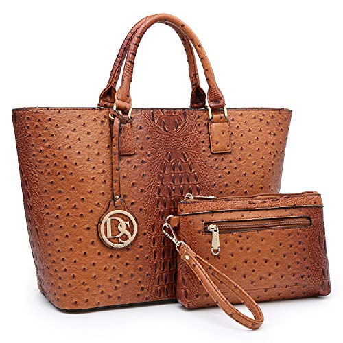 MMK collection Fashion Designer Ostrich Embossed Satchel Handbags with Wallet Tote Purse for Women(XL-T-6417-BR)