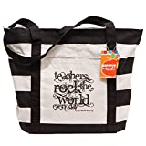 Teacher Peach Striped Canvas Teacher Tote Bag, Large Utility Gift Tote with Outside Pocket & Zipper Closure