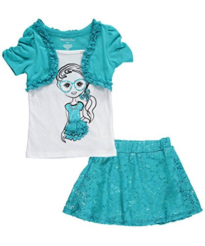 """Colette Lilly Big Girls' """"Bejeweled Spectacles"""" 2-Piece Outfit - teal, 10 - 12"""