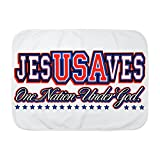Royal Lion Baby Blanket White USA Jesus Saves Nation Under God