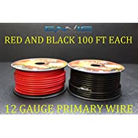 12 GAUGE WIRE ENNIS ELECTRONICS 100 FT RED 100 FT BLACK PRIMARY REMOTE HOOK UP AWG COPPER CLAD